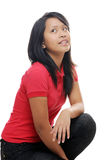 Asian girl in red Stock Photography