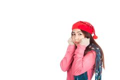 Asian girl with red christmas hat feel cold Royalty Free Stock Photo
