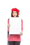 Asian girl with red christmas hat show blank sign vertically Stock Photos