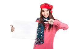 Asian girl with red christmas hat show two fingers and  blank si Royalty Free Stock Photo