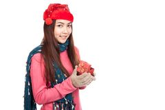 Asian girl with red christmas hat smile open gift box Stock Photos