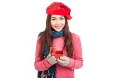 Asian girl with red christmas hat smile open gift box Stock Images