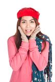 Asian girl with red christmas hat very happy Stock Image