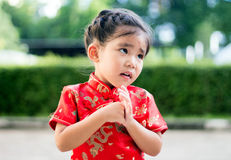 Asian girl in red dress Royalty Free Stock Photo