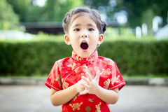 Asian girl in red dress Royalty Free Stock Photos