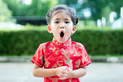 Asian girl in red dress Stock Photo