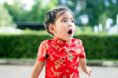Asian girl in red dress Stock Images
