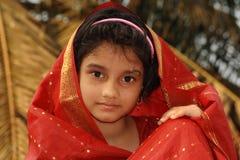 Asian girl in red sari Royalty Free Stock Images