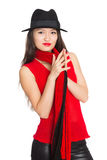 Asian girl with a red scarf Royalty Free Stock Photography