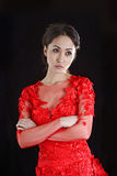 Asian girl  in a red transparent dress Royalty Free Stock Photography