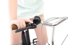 Asian girl riding a bike Royalty Free Stock Images