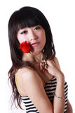 Asian girl and rose Royalty Free Stock Image
