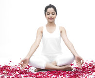 Asian girl with rose petals. Asian girl of indian origin with rose petals royalty free stock photo