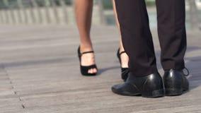 Asian girl running to meet her boyfriend stock video