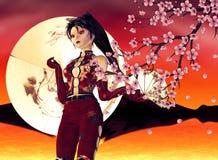Asian Girl with Sakura Stock Photography