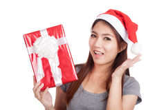 Asian girl with santa hat very happy  hold gift box Stock Image