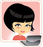 Young girl with laptop Royalty Free Stock Image