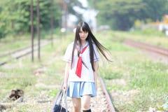 Asian school girl stock photos