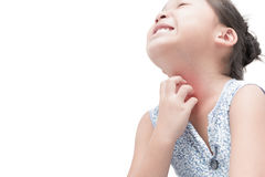 Asian girl scratch the itch with hand isolated. On white background, Concept with healthcare and medicine stock images