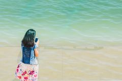 Asian girl selfie with the sea stock photos