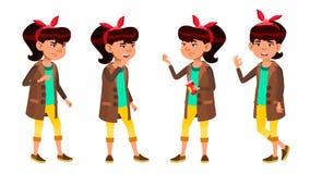 Asian Girl Set Vector. High School Child. School Student. For Web, Poster, Booklet Design. Isolated Cartoon Illustration stock illustration
