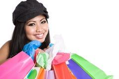 asian girl shopping 免版税图库摄影