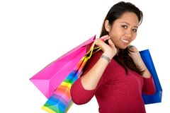 Asian girl with shopping bags Stock Image