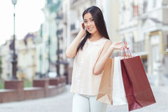 Asian girl on shopping Royalty Free Stock Photo