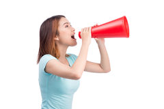 Asian girl shouting with a megaphone Stock Photo