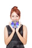 Asian girl show a disc with her both hands Royalty Free Stock Photo