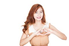 Asian girl show heart shape hands Royalty Free Stock Photos