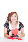 Asian girl show heart shape paper and smile Stock Images