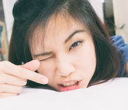 Asian girl is showing heart sign Stock Photography