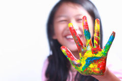 Asian Girl Showing Her Painted Palm Stock Photo
