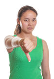Asian girl shows her thumb down Royalty Free Stock Photography