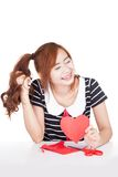 Asian girl shy cut heart shape paper Royalty Free Stock Photography