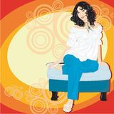 Asian Girl Sitting. Asian girl with curly hair sitting on bench vector illustration