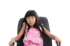 Asian girl sitting on office chair and thinking Stock Photography