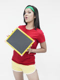 Asian girl with a slate Stock Image
