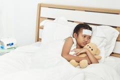 Asian girl sleeping in hospital stock photography