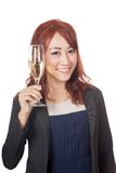 Asian girl smile doing cheers with wine glass Stock Photography
