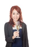 Asian girl smile with a glass of white wine Royalty Free Stock Images