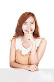 Asian girl smile show quite hand sign Stock Images