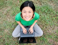 Asian Girl smiling with laptop Stock Photo
