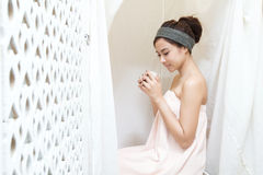 Asian girl in spa Stock Images