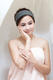 Asian girl in spa. Beautiful asian girl in spa in steam tent Stock Images