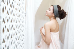 Asian girl in spa Stock Photography