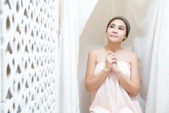 Asian girl in spa Stock Image