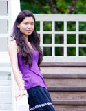 Asian Girl On Staircase Stock Images
