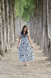 Asian girl stand on the road which have 2 side pine trees lined Royalty Free Stock Photos